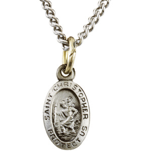 Sterling Silver Oval St. Christopher Pendant Medl with Chain
