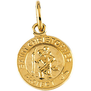 14K Gold St. Christopher Pendant - Mini