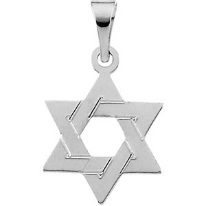 14K White Gold Star Of David Pendant