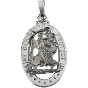 14K White Gold St. Christopher Pendant