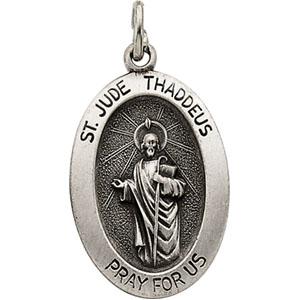 White Gold St.Jude Thaddeus Pendant
