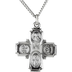 Sterling Silver 4-Way Cross Pendant Pendant with Chain