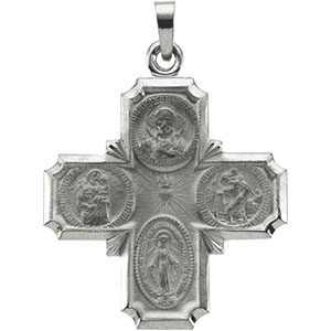 14K White Gold 4-Way Cross Pendant