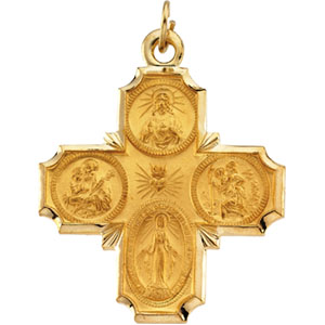14K Yellow Gold 4-Way Cross Pendant