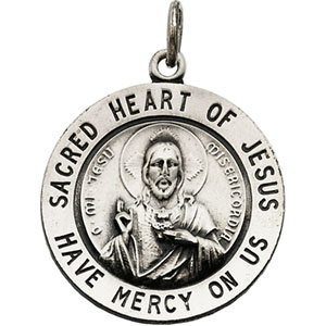 Sterling Silver Sacred Heart Of Jesus Pendant with Chain