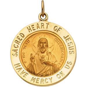 14K Yellow Gold Sacred Heart Of Jesus Pendant
