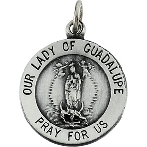 Sterling Silver Lady Of Guadalupe Pendant with Chain