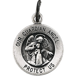 Sterling Silver Guardian Angel Pendant with Chain