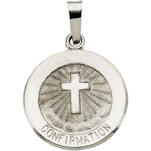 14K White Gold Confirmation Pendant with Cross
