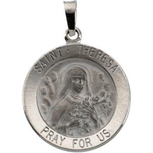 14K White Gold St. Theresa Pendant