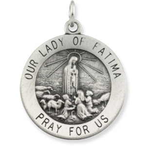 Sterling Silver Round Our Lady Of Fatima Pendant Med with Chain