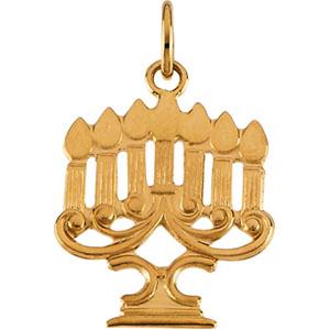 14K Yellow Gold Menorah Pendant