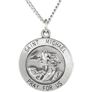 Sterling Silver Round St. Micheal Pendant Pendant with Chain