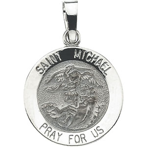 14K White Gold St.Michael Pendant