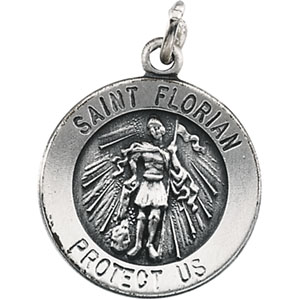 Sterling Silver Round St. Florian Pendant Pendant with Chain