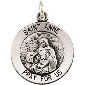 Sterling Silver Round St Anne Pendant Pendant with Chain