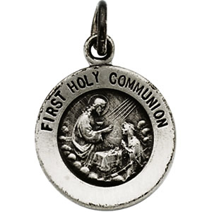 Sterling Silver Round Frst Holy Communion Pendant Pendant with Chain