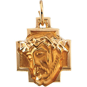 14K Yellow Gold Head Of Jesus with Crown Cross Pe