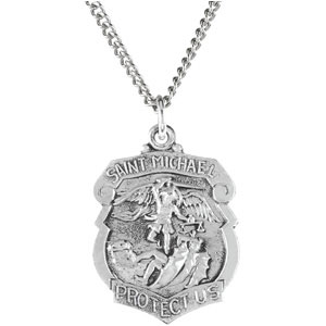 Sterling Silver St. Michael Pendant with Chain