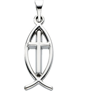 14K White Gold Fish with Cross Pendant