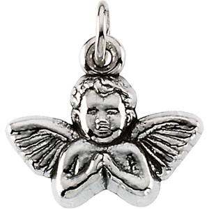 14K White Gold Baby Angel Pendant