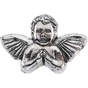 White Gold Praying Angel Lapel Pin