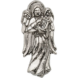 White Gold Angel with Harp Lapel Pin
