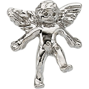 White Gold Angel Lapel Pin
