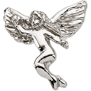 White Gold Dancing Angel Lapel Pin