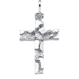 14K White Gold Nugget Cross Pendant