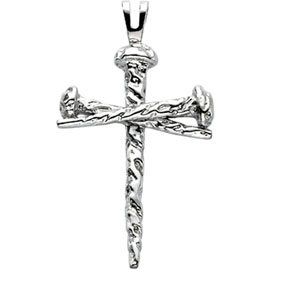 14K White Gold Cross 43Mm