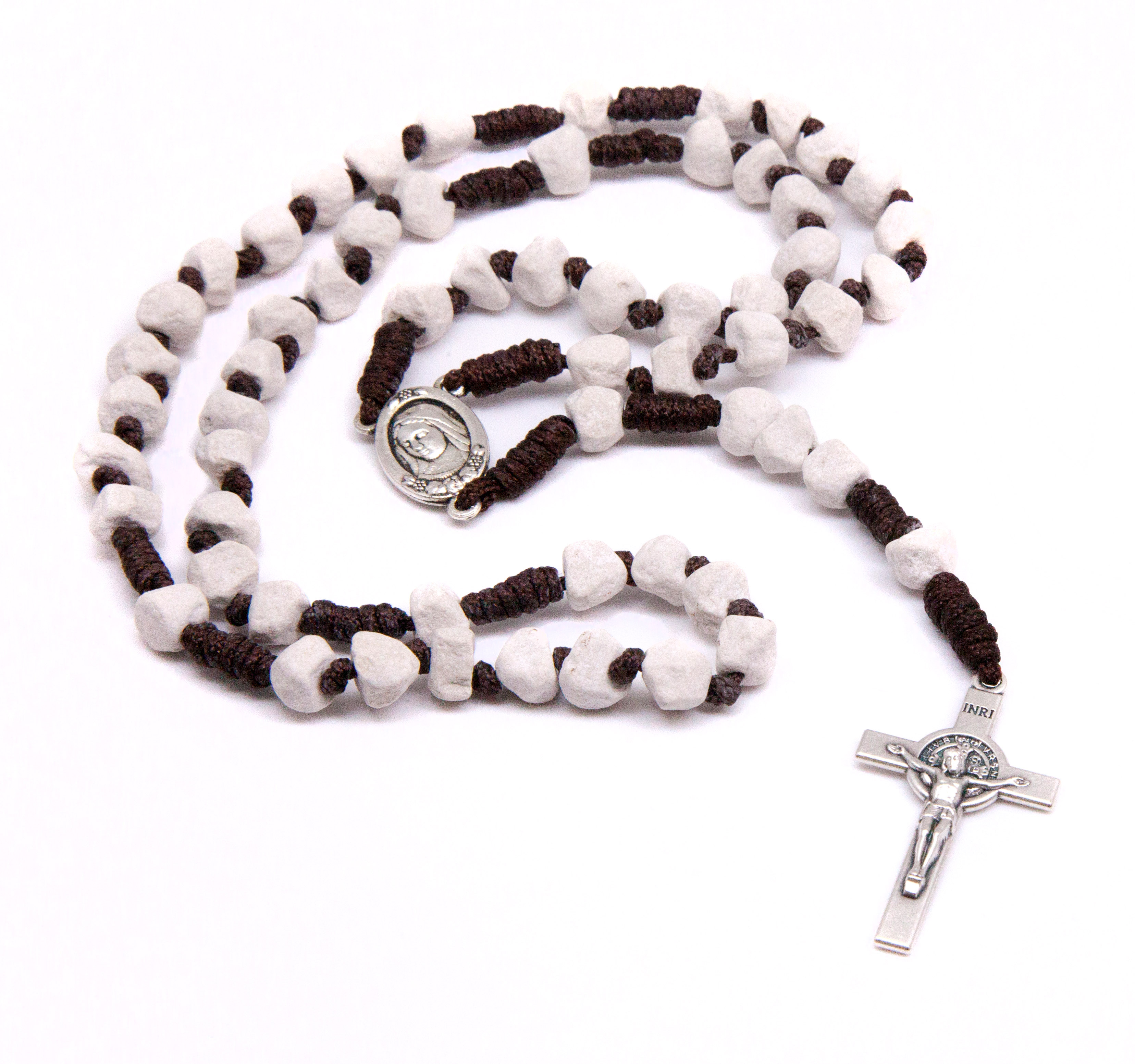 Medjugorje Stone Rosary - Brown Cord