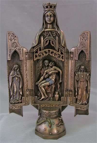 Virgin Mary Statue Triptych