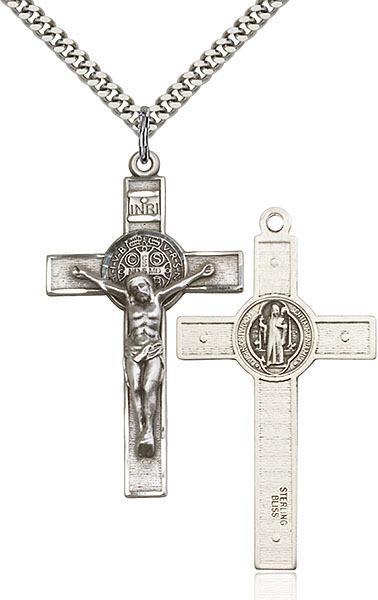 Crucifix pendants in gold and sterling silver sterling silver st benedict crucifix pendant aloadofball Images