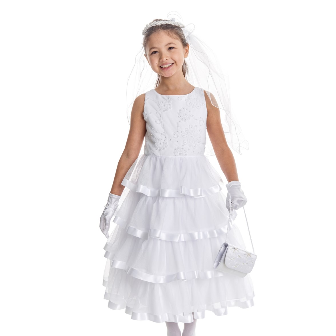 embroidered pearl first communion dress