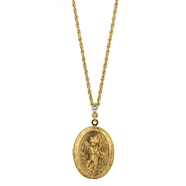 Catholic shop sells jewelry and religious lockets with free shipping 14k gold dipped oval angel locket necklace aloadofball Image collections