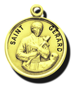Catholic shop sells jewelry and patron saint medals and saint gerard gold round st gerard medal with 14kt aloadofball Image collections