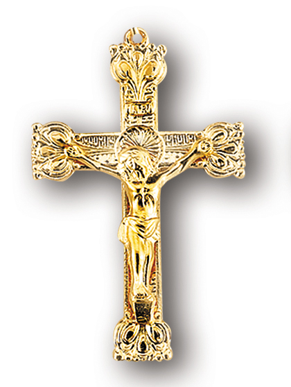 Crucifix pendants in gold and sterling silver 1 716 gold over sterling silver crucifix with 24 chain aloadofball Choice Image