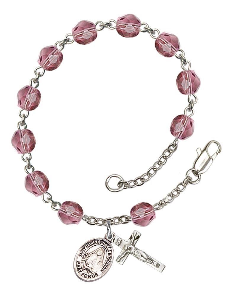 The charm features a St The Crucifix measures 5//8 x 1//4 Silver Plate Rosary Bracelet features 6mm Amethyst Fire Polished beads Maria Bertilla Boscardin medal.