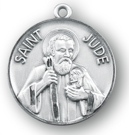 Catholic shop sells jewelry and patron saint medals and saint jude 1 18 round sterling silver st jude medal with 24 chain mozeypictures Gallery