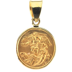 Catholic shop sells jewelry and saint michael medals with free shipping 18k yellow st michael pendant aloadofball Images