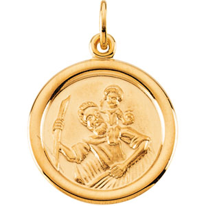 14 karat gold saint christopher medals with free shipping 14k yellow gold st christopher pendant mozeypictures Images
