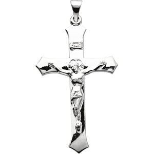 White gold crucifixes with free shipping 14k white gold crucifix pendant aloadofball Image collections