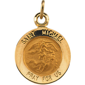 Catholic shop sells jewelry and saint michael medals and 14 karat 14k yellow gold stmichael pendant mozeypictures Gallery