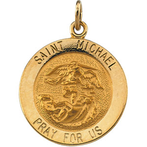 Catholic shop sells jewelry and saint michael medals and 14 karat 14k yellow gold stmichael pendant mozeypictures Image collections