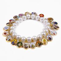 Holy Saint Stretch Bracelet Aurora Borealis Pearl Beads